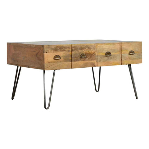 ARTISAN Two Drawer with Four Drawer Effect Coffee Table with Iron Legs