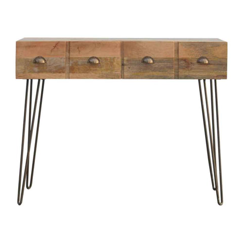 ARTISAN Two Drawer with Four Drawer Effect Console Table with Iron Legs