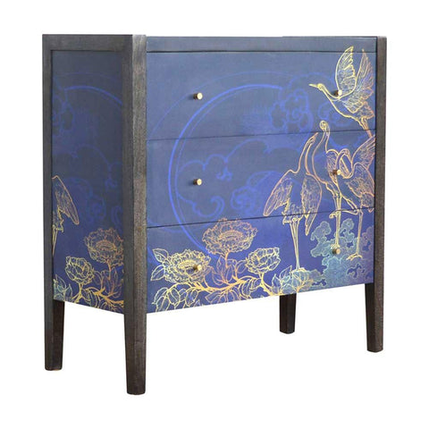 ARTISAN Avanti Lux 'Laurence Llewelyn Bowen' Shangri-la midnight blue three drawer chest of drawers 3/4 view
