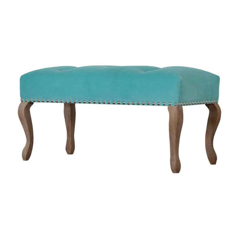 ARTISAN French Style Velvet Covered Bench Seat -Turquoise