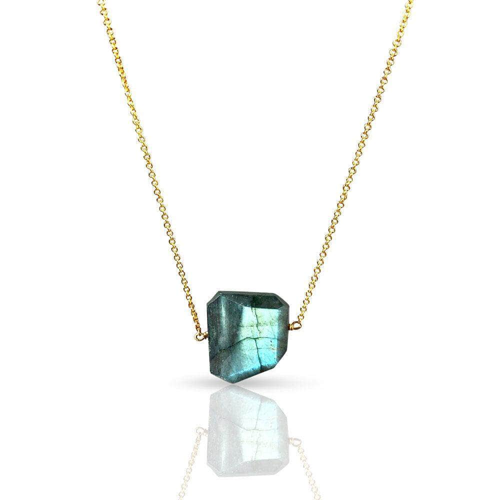 CAMILLA WEST JEWELLERY Green Labradorite Gemstone Gold Filled Necklace
