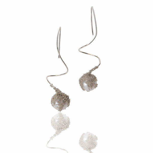 FRANCESCA MARCENARO  Magic Berries White Pearl Silver Earrings