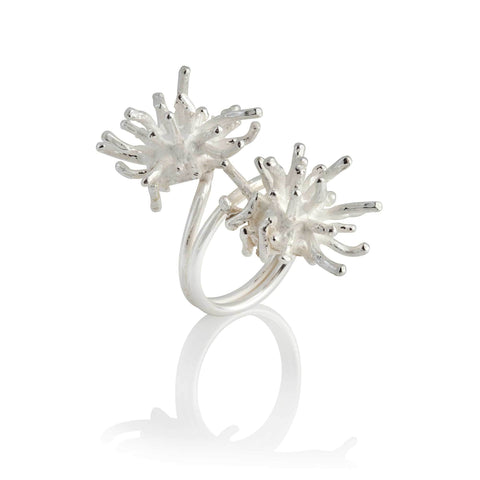 Francesca Marcenaro Mermaid Double Sea Anemones Hand Cast Silver RingMermaid Double Sea Anemones Hand Cast Silver Ring
