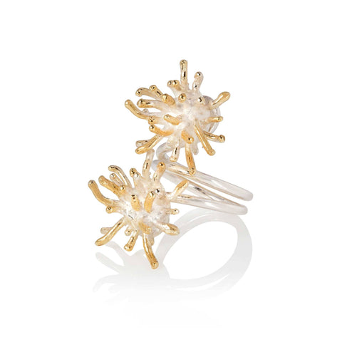 Francesca Marcenaro Mermaid Double Sea Anemones Hand Cast Gold Plated Silver Ring