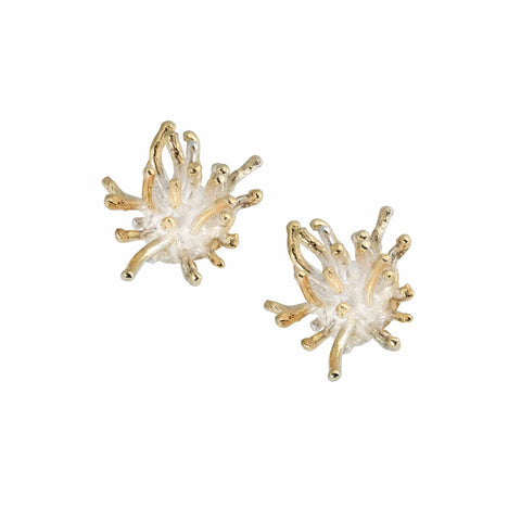 Francesca Marcenaro Mermaid Sea Anemones Hand Cast Gold Plated Earrings
