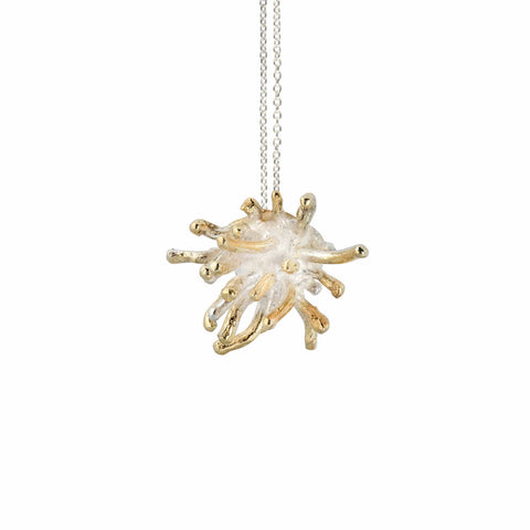Francesca Mercenaro Mermaid Sea Anemones Hand Cast Gold Plated Silver Pendant