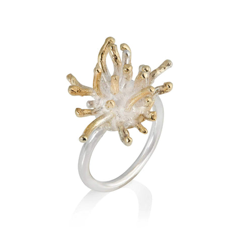 Francesca Marcenaro Mermaid Sea Anemones Hand Cast Gold Plated Silver Ring