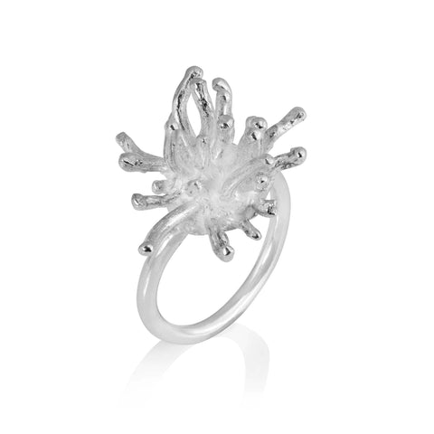 Francesca Marcenaro Mermaid Sea Anemones Hand Cast Silver Ring