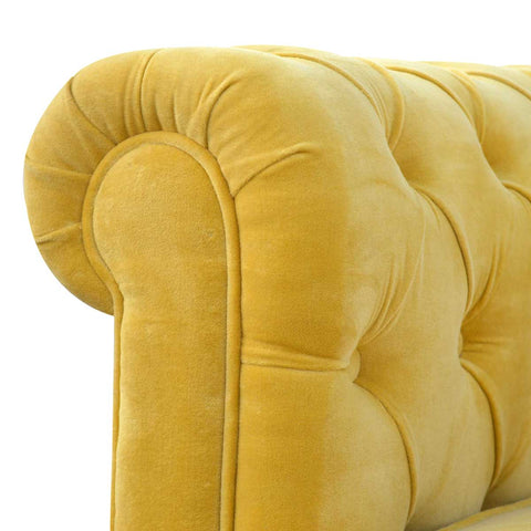 ARTISAN Mustard Yellow Velvet Two Seater Chesterfield Sofa with Mango Wood Legs - unusualdesignergifts.co.uk