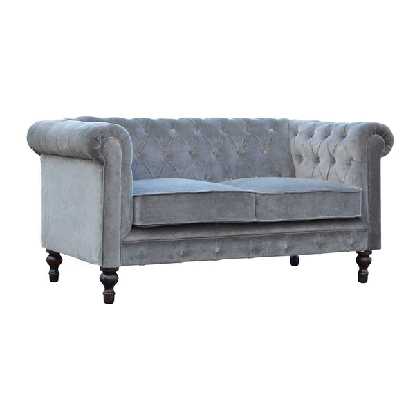ARTISAN Grey Velvet Two Seater Chesterfield Sofa with Mango Wood Legs