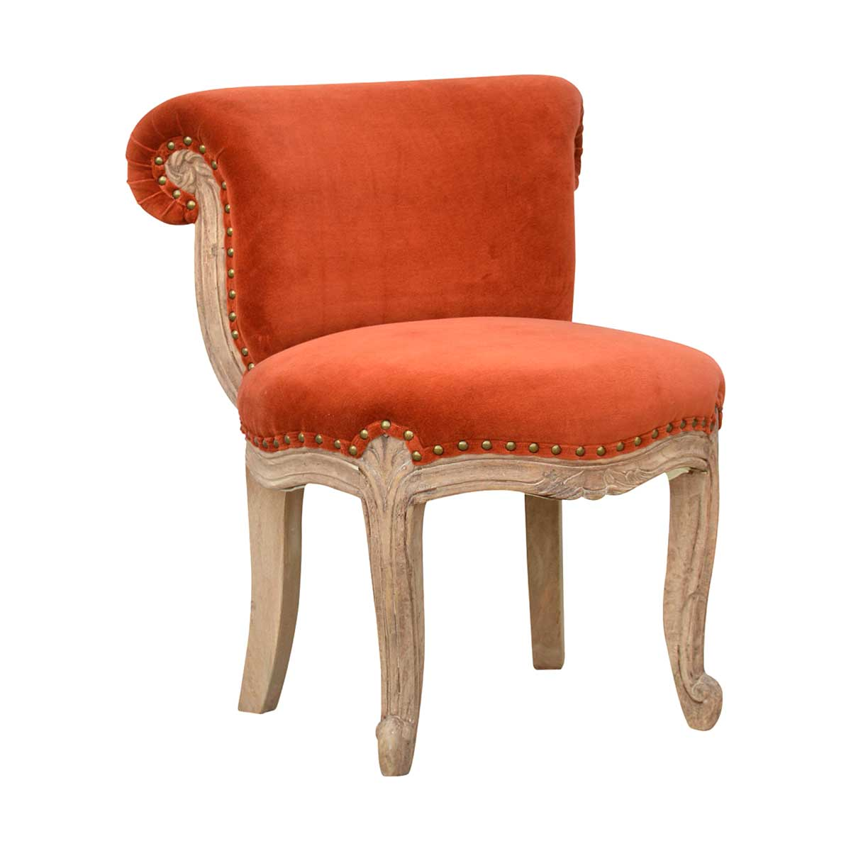 ARTISAN Small Studded Velvet Occasional Chair in Mango Wood - Eight Colours
