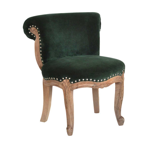 ARTISAN Solid Carved Wood Studded Velvet Chair available in Seven Colours - unusualdesignergifts.co.uk