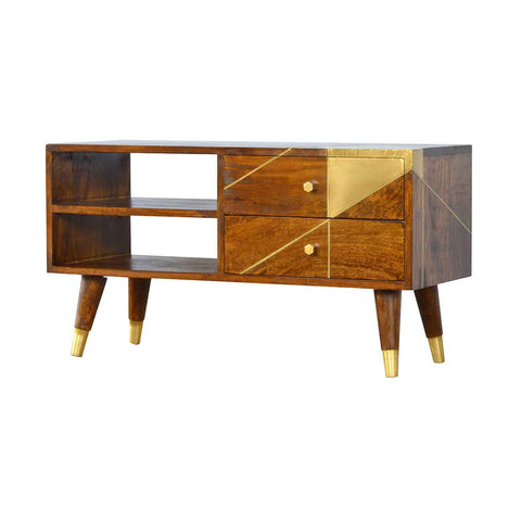 Artisan Mango Wood Geometric Chestnut  with Gold Detail Media Unit Front Side View