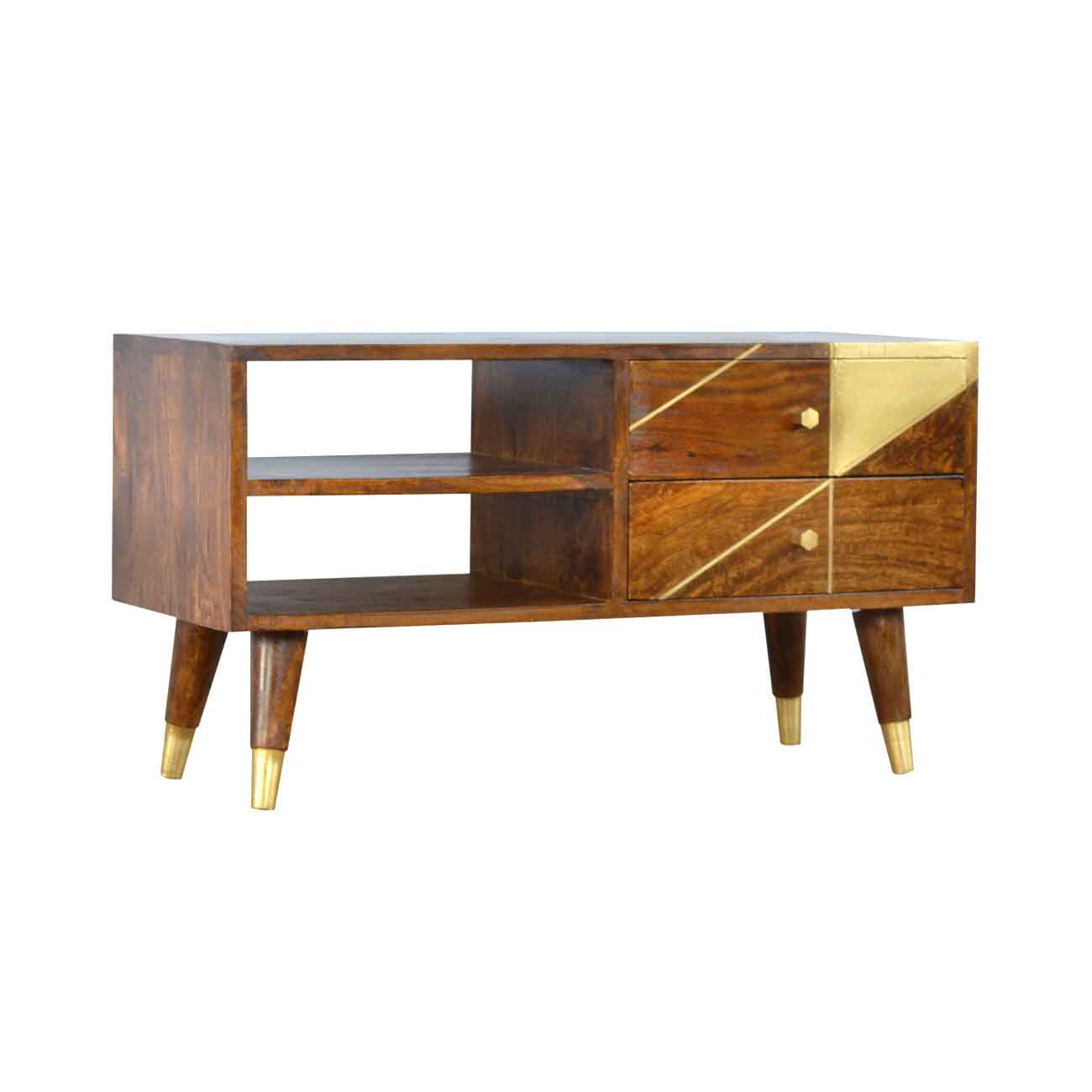 ARTISAN Mango Wood Geometric Design Media Unit with Gold Detail