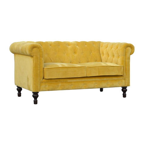 Artisan Mustard Yellow Velvet Two Seater Chesterfield Sofa with Mango Wood Legs front angle