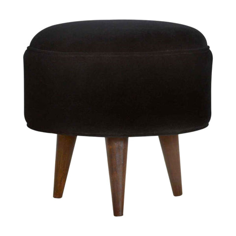 ARTISAN Real Mango Wood Cotton Velvet Nordic Style Footstool available in Seven Colours