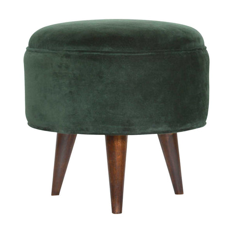 ARTISAN Round Velvet Nordic Style Footstool in Seven Colours - unusualdesignergifts.co.uk