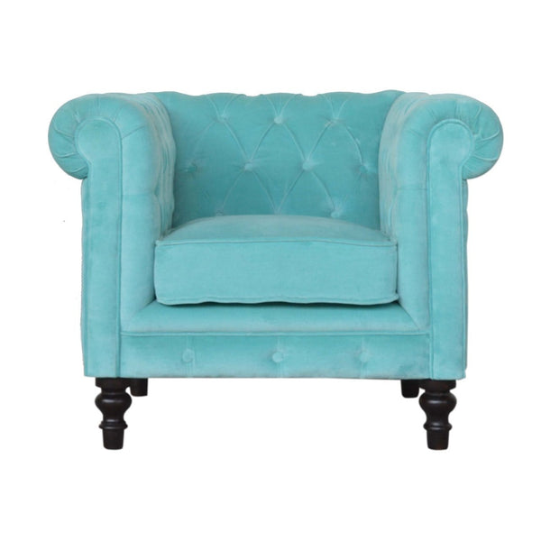 ARTISAN Turquoise Velvet Chesterfield Armchair with Mango Wood Legs