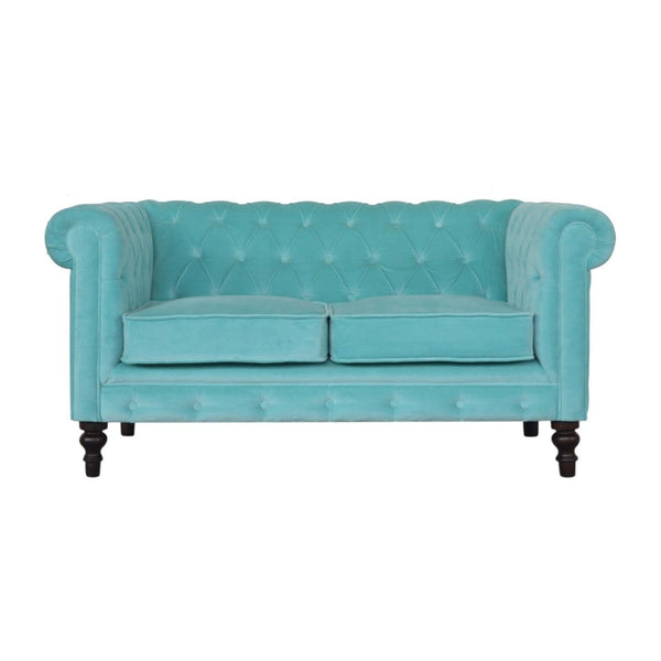 ARTISAN Turquoise Velvet Two Seater Chesterfield Sofa with Mango Wood Legs