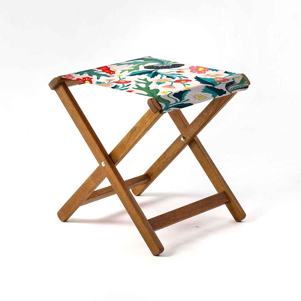 ARTWORLD STOOLS Flowers By Turnowsky Hardwood Folding Stool - 10 Day Delivery
