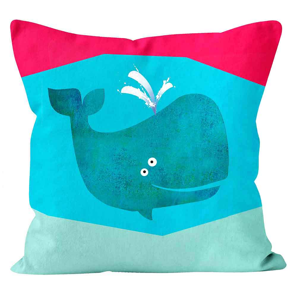 ARTWORLD CUSHIONS 'Whale' Kali Stileman Blue Print Cushion - Large | Medium