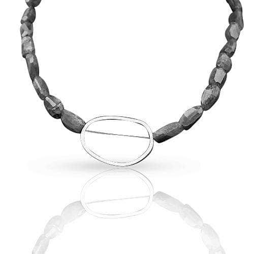 CAMILLA WEST JEWELLERY Sterling Silver and Labradorite Pebble Necklace