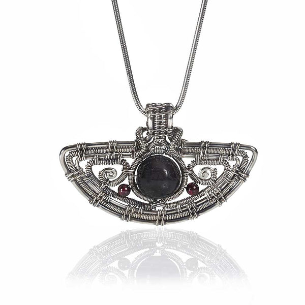 CAMILLA WEST JEWELLERY Sterling Silver Tourmaline and Garnet Amulet Pendant Necklace