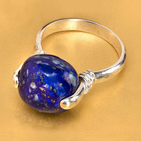Camilla West jewellery stirling silver coil ring with a dark blue Lapis Lazuli gemstone