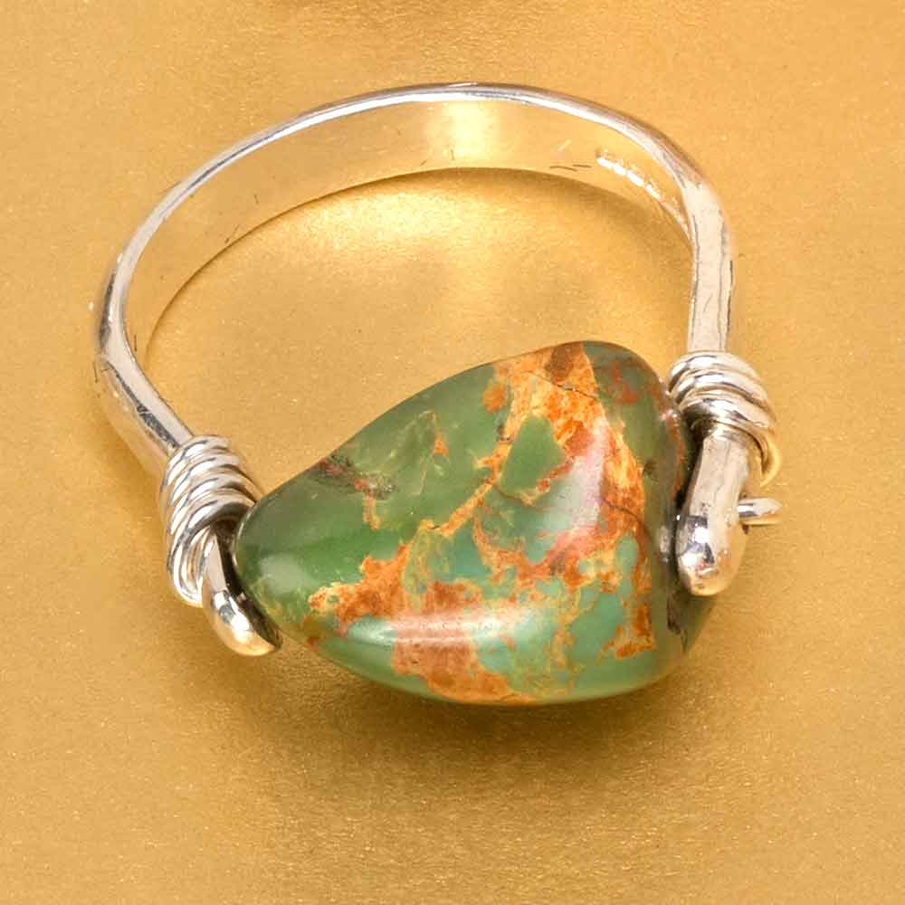 Camilla West Jewellery Silver Coil Ring with Turquoise Gemstone