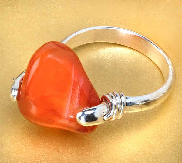 Camilla West Jewellery Silver Coil Ring with Orange Carnelian Gemstone