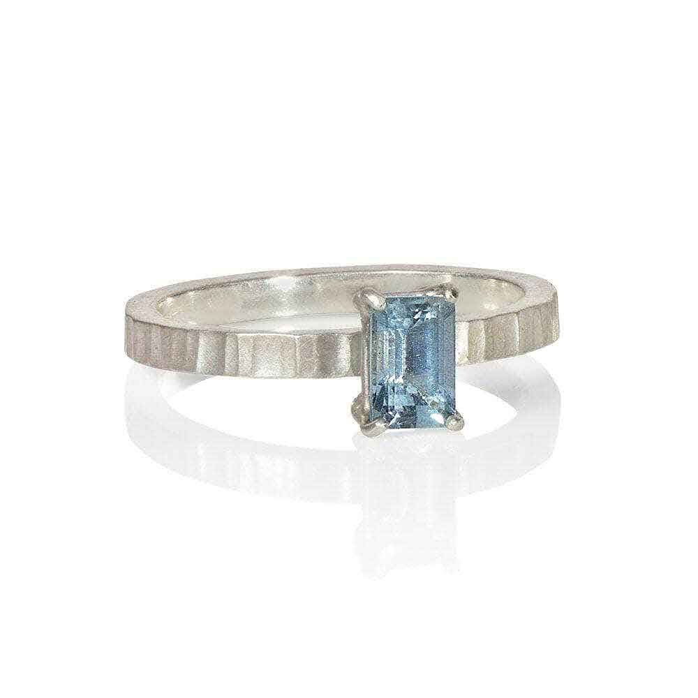 CAMILLA WEST JEWELLERY Rectangular Aquamarine Silver Ring | Wide | Narrow