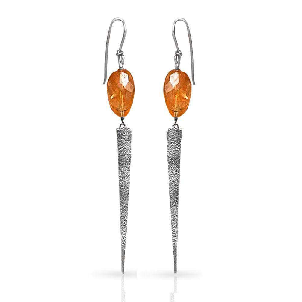 CAMILLA WEST JEWELLERY Heat Textured Silver Earrings - Citrine