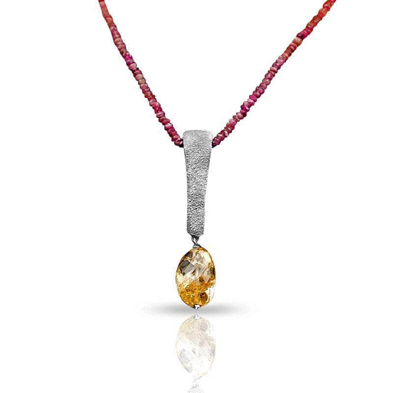 CAMILLA WEST JEWELLERY Heat Textured Tourmaline and Citrine Gemstone Necklace