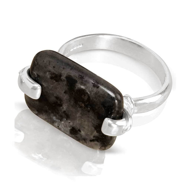 CAMILLA WEST JEWELLERY Black Larvikite Silver Coil Ring