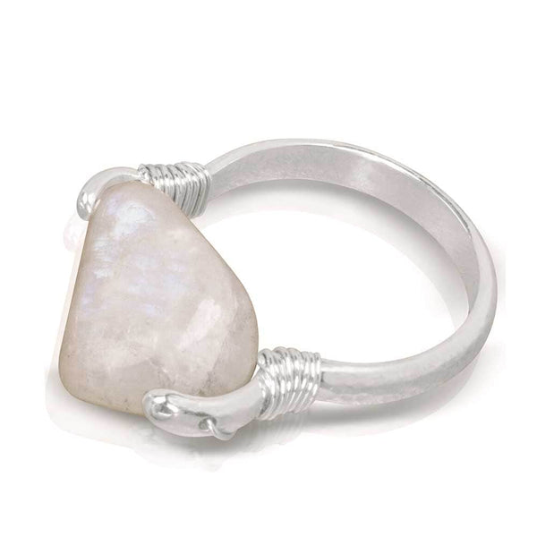 CAMILLA WEST JEWELLERY Rainbow Moonstone Silver Coil Ring