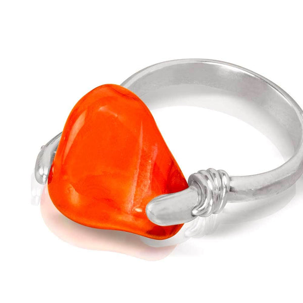 CAMILLA WEST JEWELLERY Orange Carnelian Silver Coil Ring