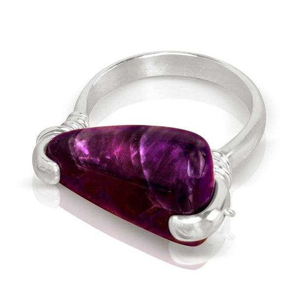 CAMILLA WEST JEWELLERY Amethyst Silver Coil Ring