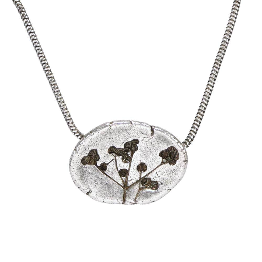 CAMILLA WEST JEWELLERY Concave Stone Parsley Oval Silver Pendant Necklace