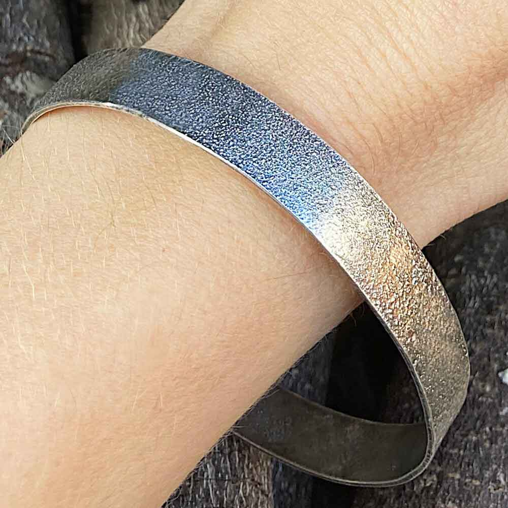 CAMILLA WEST JEWELLERY Heat Textured Sterling Silver Bangle