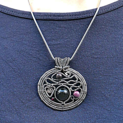 CAMILLA WEST JEWELLERY 'Music Of The Spheres' Sterling Silver Tourmaline and Garnet Pendant