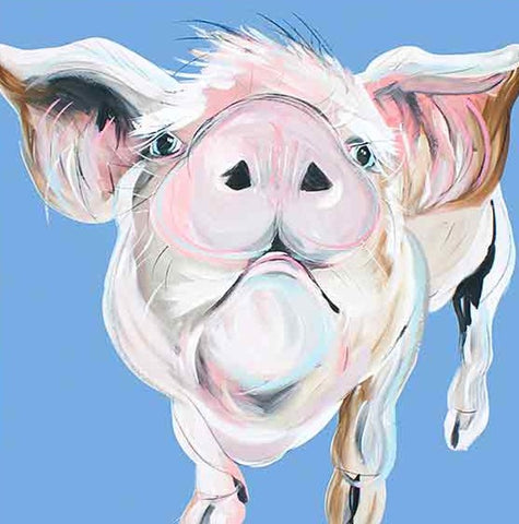 CAROLINE WALKER 'Dennis the Pig' Board Mounted Wall Art Animal Print - unusualdesignergifts.co.uk
