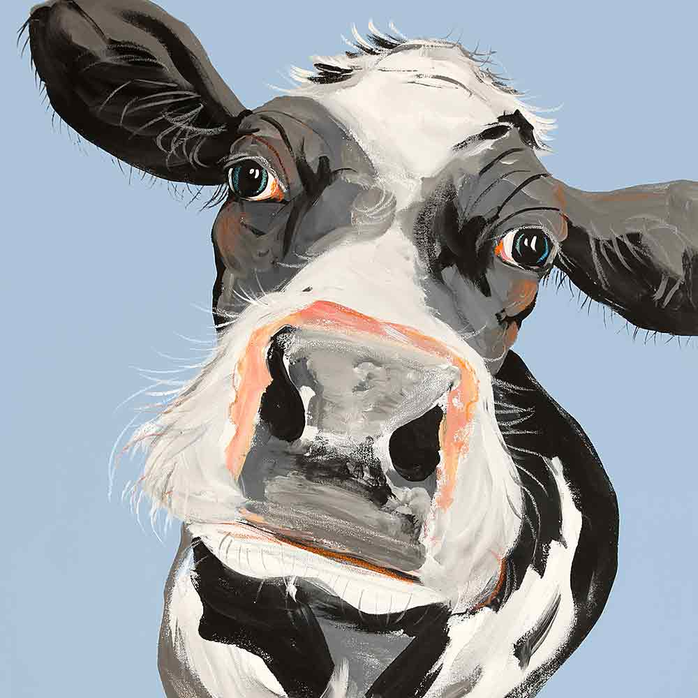 CAROLINE WALKER 'Jessica' The Cow Limited Edition Signed Print | Box Canvas | Black or White Frame