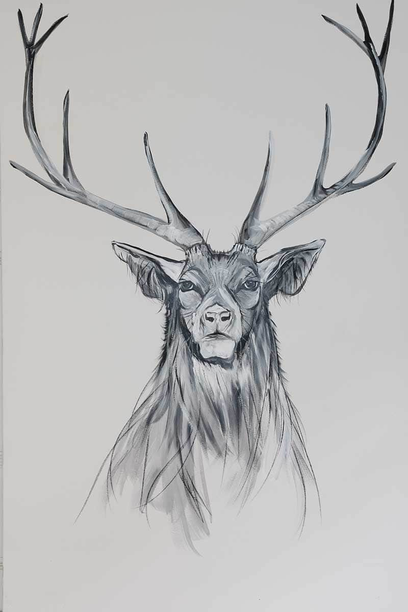 CAROLINE WALKER 'Protector' The Stag Limited Edition Signed Print | Box Canvas | Black or White Frame