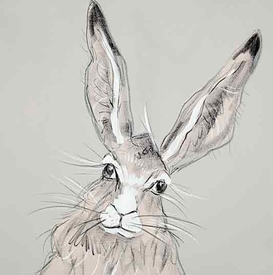 CAROLINE WALKER 'Billy' The Hare Limited Edition Signed Print | Box Canvas | Black or White Frame
