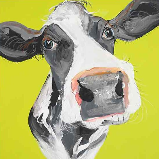 CAROLINE WALKER 'Holly' The Cow Limited Edition Signed Print | Box Canvas | Black or White Frame