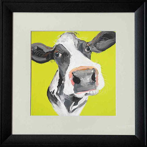 CAROLINE WALKER 'Holly the Cow' Board Mounted Wall Art Animal Print - unusualdesignergifts.co.uk
