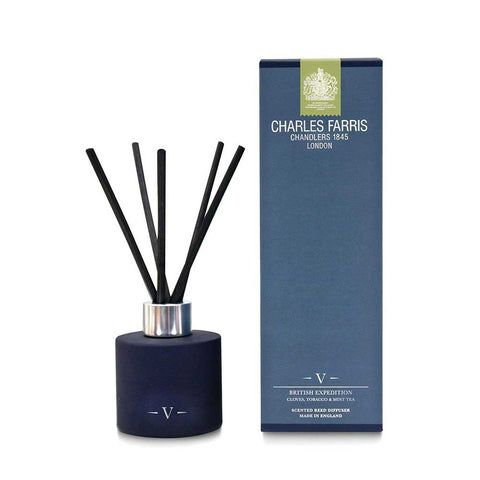 CHARLES FARRIS Signature British Expedition Cloves Tobacco and Mint Premium Reed Diffuser - unusualdesignergifts.co.uk
