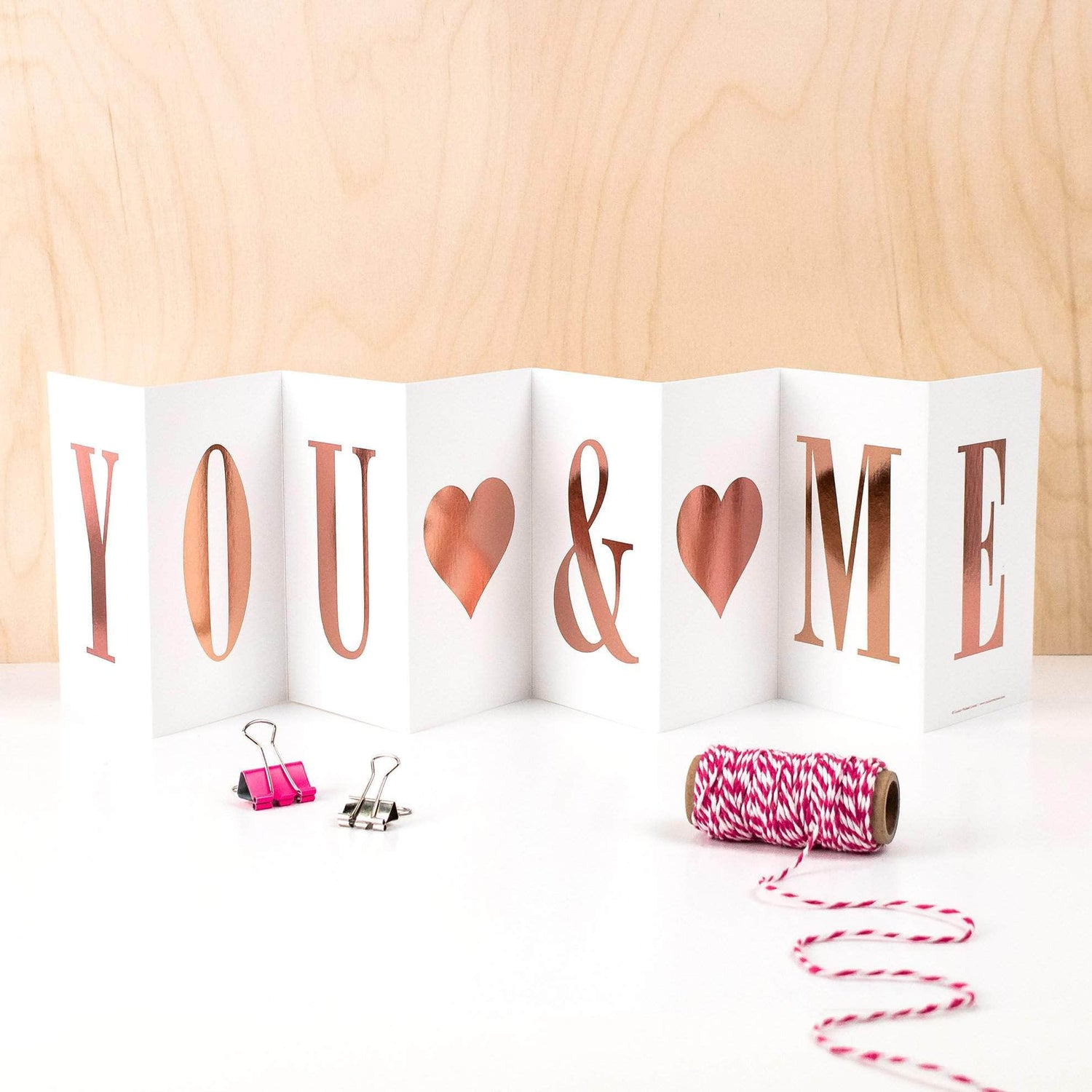 COULSON MACLEOD 'You & Me' Rose Gold Concertina Greetings Card with Personalised Gift Box