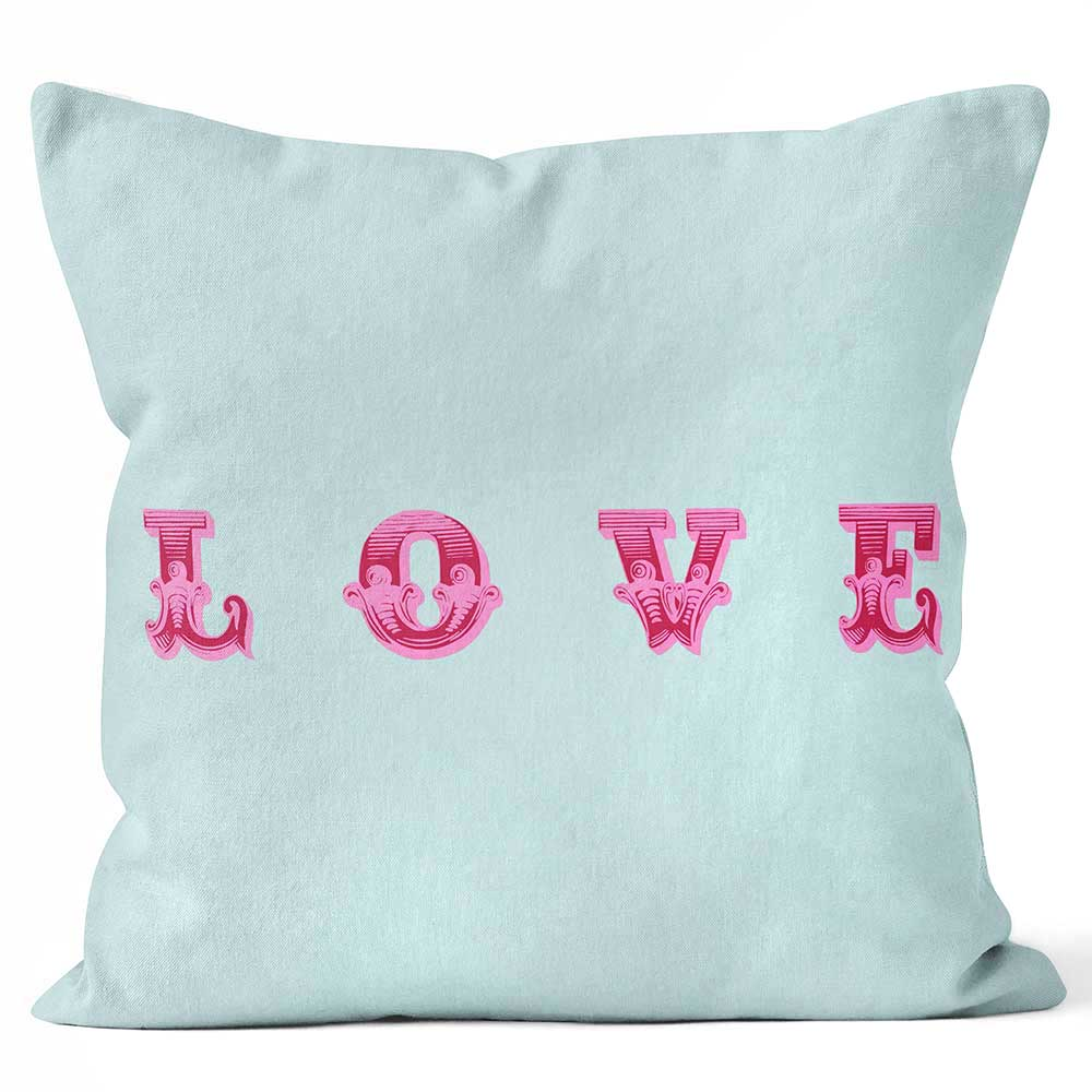 ARTWORLD CUSHIONS 'Love' Aqua Blue Ella Lancaster Print Cushion - Large | Medium