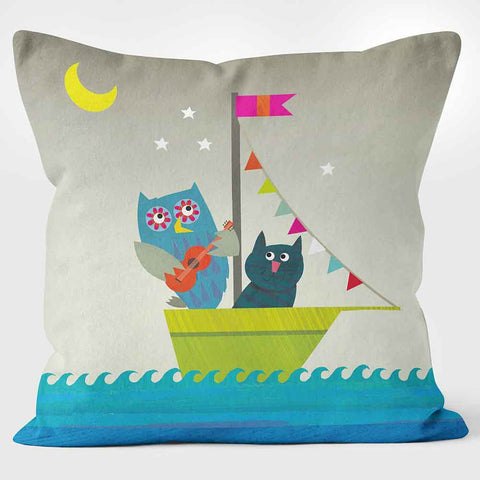 Cushions Are Us The Owl and The Pussycat grey and blue children's cushion
